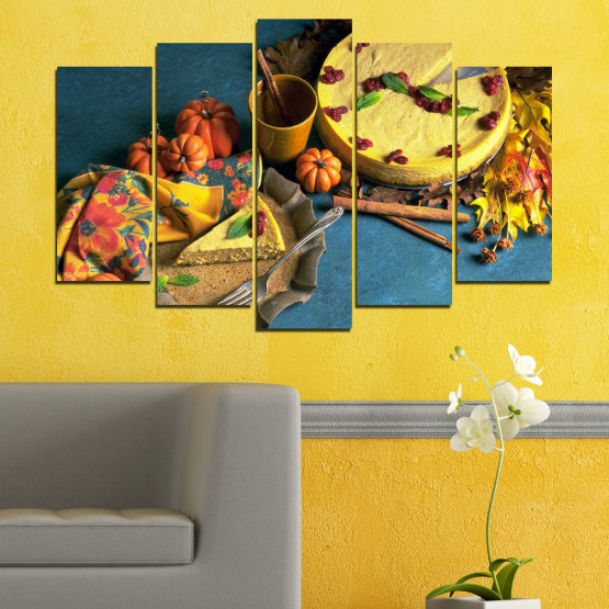 Canvas prints & wall decorative panels - 5 pieces №0286 » Yellow, Brown, Black, Dark grey » Culinary, Autumn, Pastry Form #1