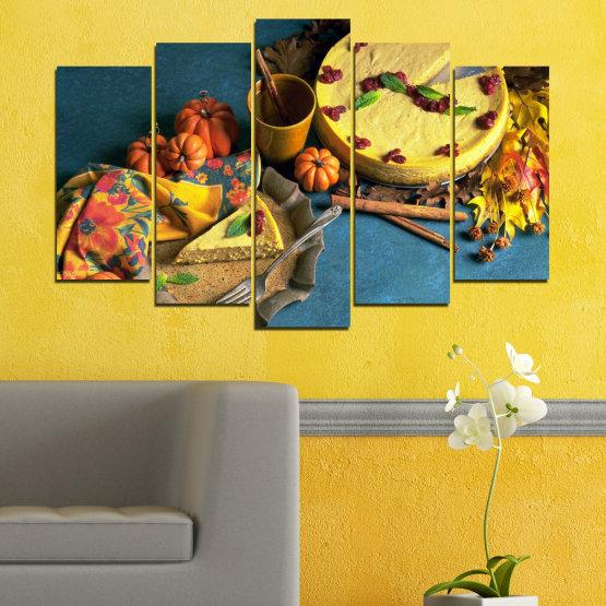 Декоративни панели и картини от канава - от 5 части №0286 » Жълт, Кафяв, Черен, Тъмно сив » Кулинарен, Есен, Сладки Form #1