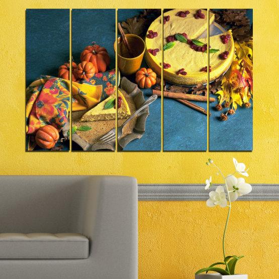 Декоративни панели и картини от канава - от 5 части №0286 » Жълт, Кафяв, Черен, Тъмно сив » Кулинарен, Есен, Сладки Form #2