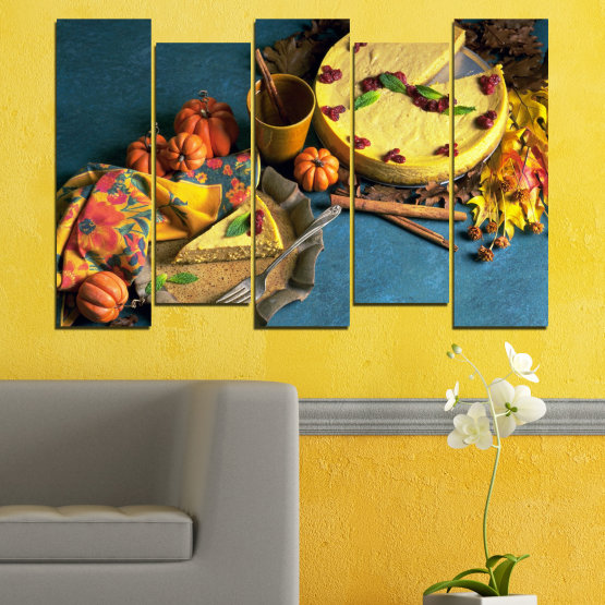 Декоративни панели и картини от канава - от 5 части №0286 » Жълт, Кафяв, Черен, Тъмно сив » Кулинарен, Есен, Сладки Form #3