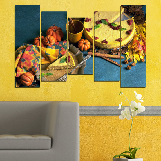 Canvas prints & wall decorative panels - 5 pieces №0286 » Yellow, Brown, Black, Dark grey » Culinary, Autumn, Pastry Form #4