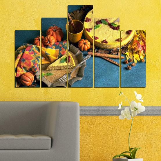 Декоративни панели и картини от канава - от 5 части №0286 » Жълт, Кафяв, Черен, Тъмно сив » Кулинарен, Есен, Сладки Form #5