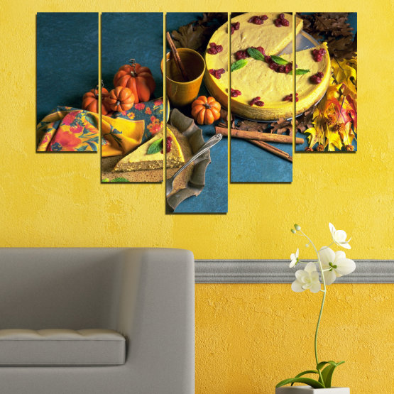 Canvas prints & wall decorative panels - 5 pieces №0286 » Yellow, Brown, Black, Dark grey » Culinary, Autumn, Pastry Form #6