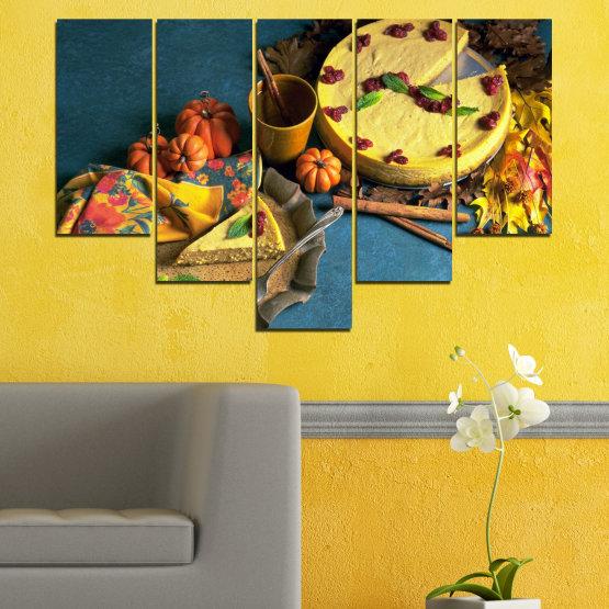 Декоративни панели и картини от канава - от 5 части №0286 » Жълт, Кафяв, Черен, Тъмно сив » Кулинарен, Есен, Сладки Form #6