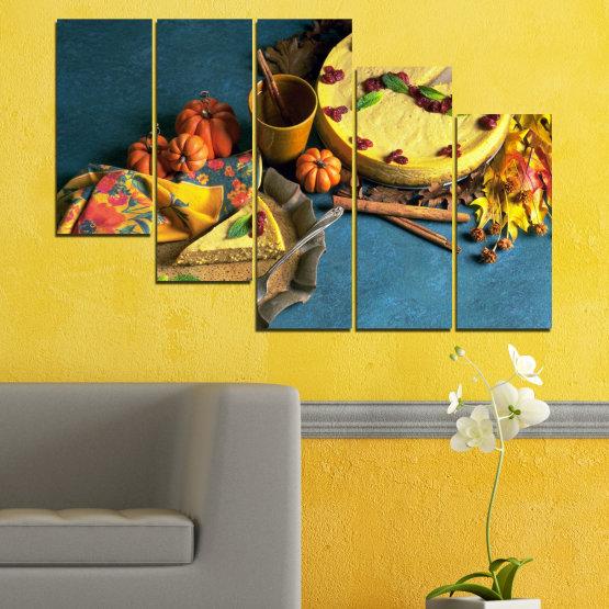 Декоративни панели и картини от канава - от 5 части №0286 » Жълт, Кафяв, Черен, Тъмно сив » Кулинарен, Есен, Сладки Form #7