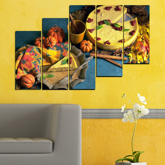Canvas prints & wall decorative panels - 5 pieces №0286 » Yellow, Brown, Black, Dark grey » Culinary, Autumn, Pastry Form #8