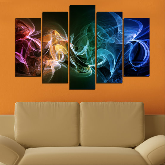 Canvas prints & wall decorative panels - 5 pieces №0287 » Blue, Brown, Black, Dark grey » Abstraction, Colorful, Smoke Form #1