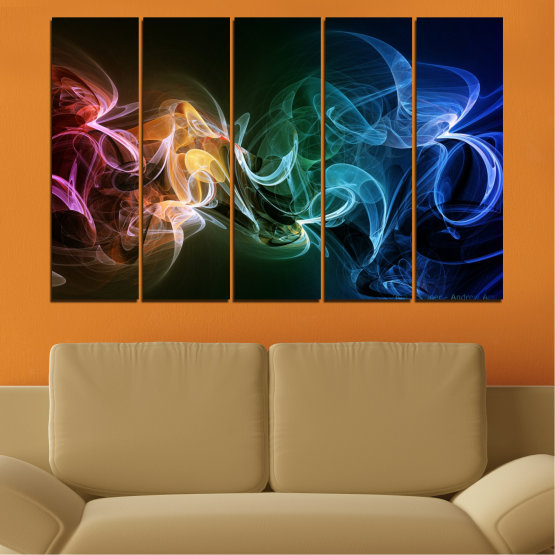 Canvas prints & wall decorative panels - 5 pieces №0287 » Blue, Brown, Black, Dark grey » Abstraction, Colorful, Smoke Form #2