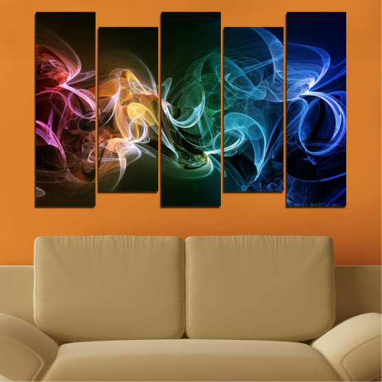 Canvas prints & wall decorative panels - 5 pieces №0287 » Blue, Brown, Black, Dark grey » Abstraction, Colorful, Smoke Form #3