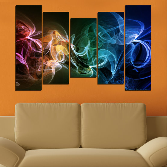 Canvas prints & wall decorative panels - 5 pieces №0287 » Blue, Brown, Black, Dark grey » Abstraction, Colorful, Smoke Form #4