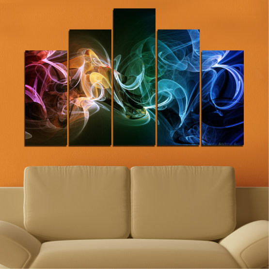 Canvas prints & wall decorative panels - 5 pieces №0287 » Blue, Brown, Black, Dark grey » Abstraction, Colorful, Smoke Form #5