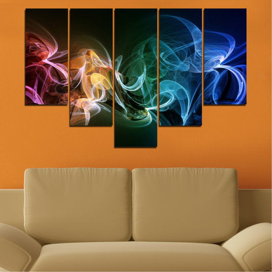 Canvas prints & wall decorative panels - 5 pieces №0287 » Blue, Brown, Black, Dark grey » Abstraction, Colorful, Smoke Form #6