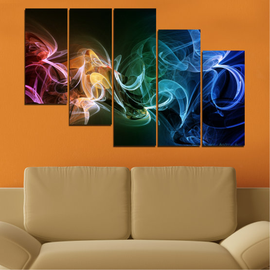 Canvas prints & wall decorative panels - 5 pieces №0287 » Blue, Brown, Black, Dark grey » Abstraction, Colorful, Smoke Form #7