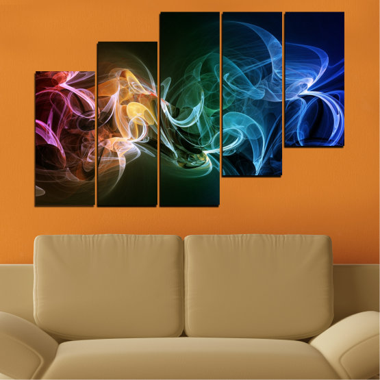 Canvas prints & wall decorative panels - 5 pieces №0287 » Blue, Brown, Black, Dark grey » Abstraction, Colorful, Smoke Form #8