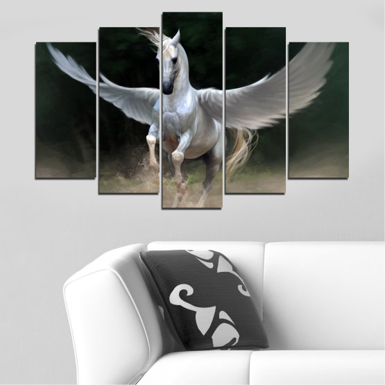 Canvas prints & wall decorative panels - 5 pieces №0288 » Brown, Black, Gray, Dark grey » Animal, Horse, Wings Form #1