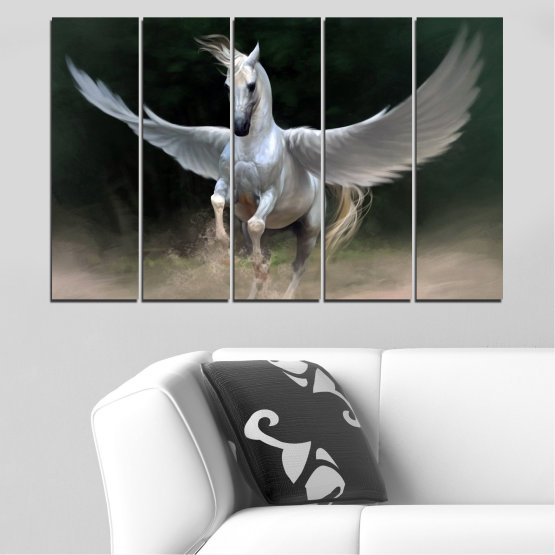 Canvas prints & wall decorative panels - 5 pieces №0288 » Brown, Black, Gray, Dark grey » Animal, Horse, Wings Form #2