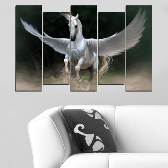 Canvas prints & wall decorative panels - 5 pieces №0288 » Brown, Black, Gray, Dark grey » Animal, Horse, Wings Form #3