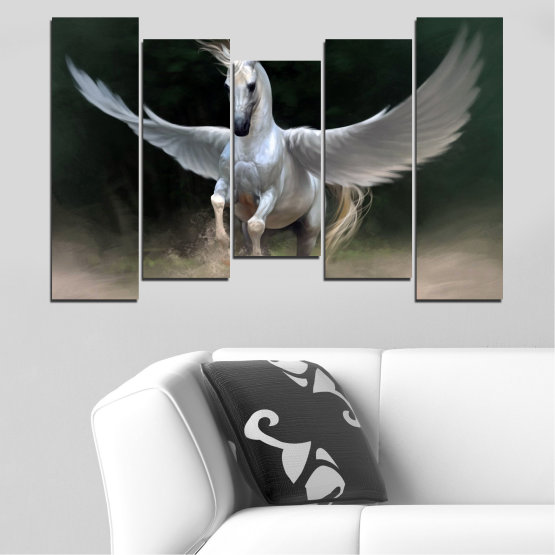 Canvas prints & wall decorative panels - 5 pieces №0288 » Brown, Black, Gray, Dark grey » Animal, Horse, Wings Form #4