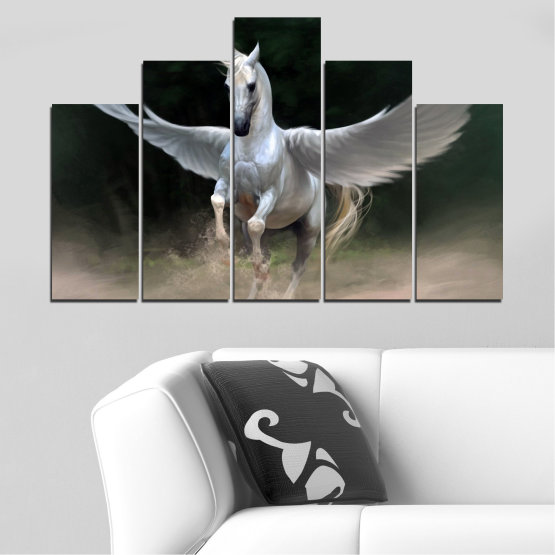 Canvas prints & wall decorative panels - 5 pieces №0288 » Brown, Black, Gray, Dark grey » Animal, Horse, Wings Form #5