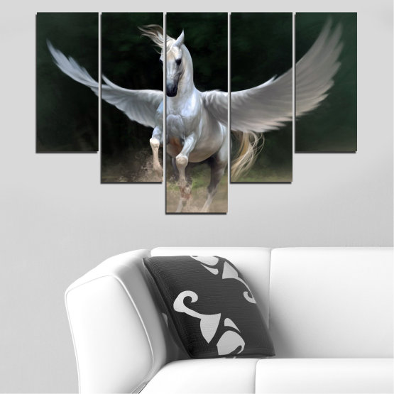 Canvas prints & wall decorative panels - 5 pieces №0288 » Brown, Black, Gray, Dark grey » Animal, Horse, Wings Form #6