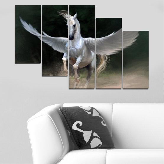 Canvas prints & wall decorative panels - 5 pieces №0288 » Brown, Black, Gray, Dark grey » Animal, Horse, Wings Form #7
