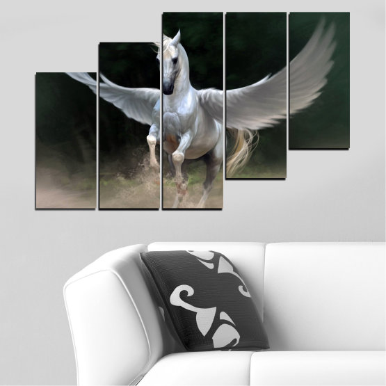 Canvas prints & wall decorative panels - 5 pieces №0288 » Brown, Black, Gray, Dark grey » Animal, Horse, Wings Form #8