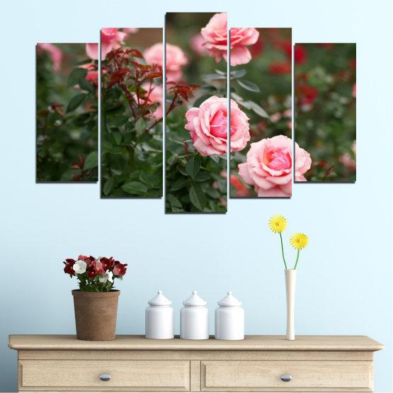 Декоративни панели и картини от канава - от 5 части №0289 » Зелен, Кафяв, Черен, Млечно розов, Тъмно сив » Цветя, Градина, Роза Form #1
