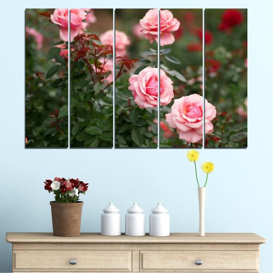 Декоративни панели и картини от канава - от 5 части №0289 » Зелен, Кафяв, Черен, Млечно розов, Тъмно сив » Цветя, Градина, Роза Form #2