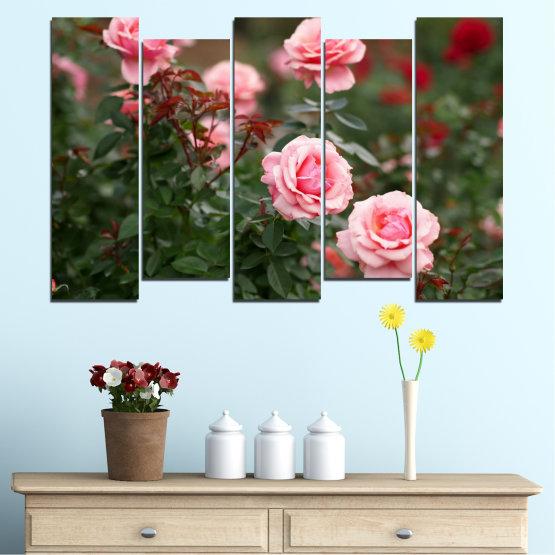 Декоративни панели и картини от канава - от 5 части №0289 » Зелен, Кафяв, Черен, Млечно розов, Тъмно сив » Цветя, Градина, Роза Form #3