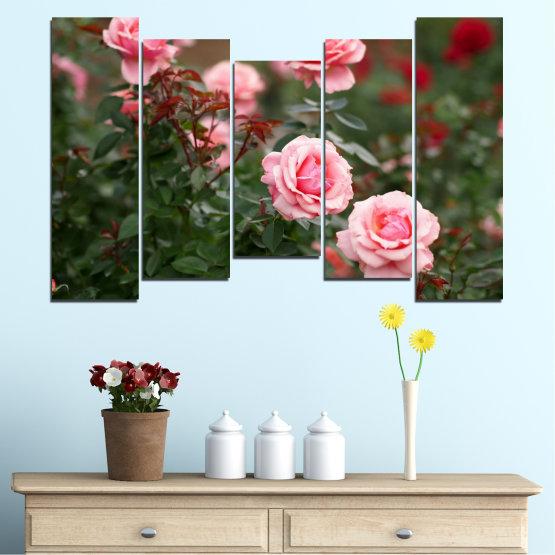 Декоративни панели и картини от канава - от 5 части №0289 » Зелен, Кафяв, Черен, Млечно розов, Тъмно сив » Цветя, Градина, Роза Form #4