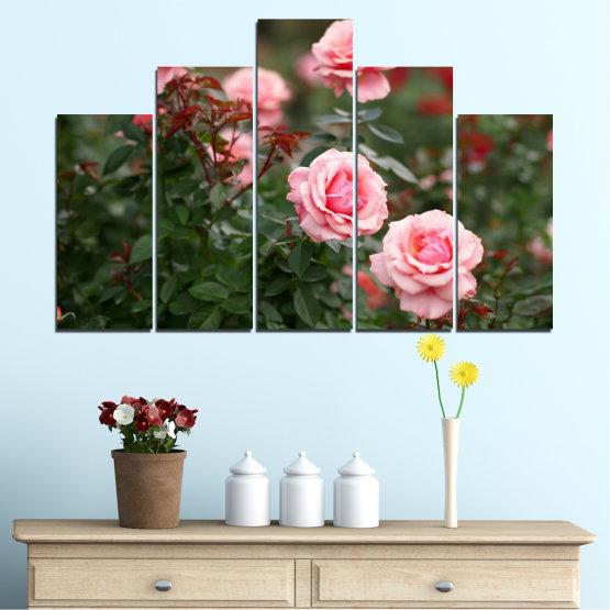 Декоративни панели и картини от канава - от 5 части №0289 » Зелен, Кафяв, Черен, Млечно розов, Тъмно сив » Цветя, Градина, Роза Form #5