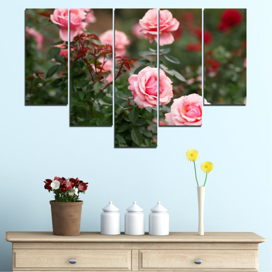 Декоративни панели и картини от канава - от 5 части №0289 » Зелен, Кафяв, Черен, Млечно розов, Тъмно сив » Цветя, Градина, Роза Form #6