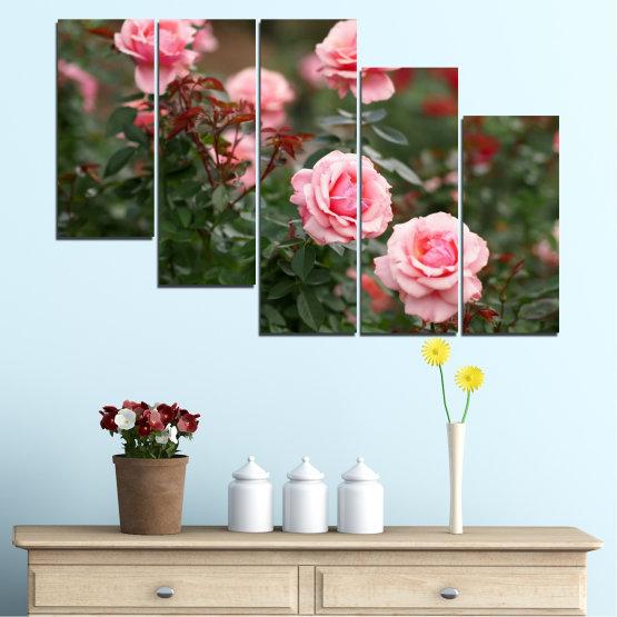 Декоративни панели и картини от канава - от 5 части №0289 » Зелен, Кафяв, Черен, Млечно розов, Тъмно сив » Цветя, Градина, Роза Form #7