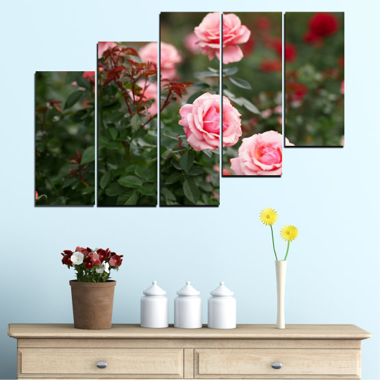 Декоративни панели и картини от канава - от 5 части №0289 » Зелен, Кафяв, Черен, Млечно розов, Тъмно сив » Цветя, Градина, Роза Form #8