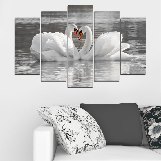 Canvas prints & wall decorative panels - 5 pieces №0029 » Gray, White, Dark grey » Water, Swan, Birds, Heart Form #1