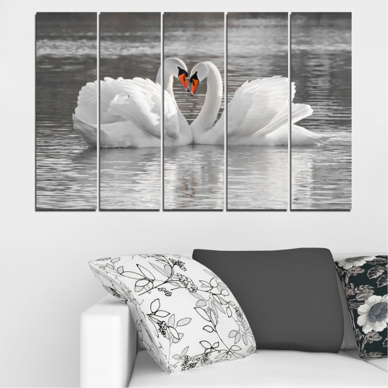 Canvas prints & wall decorative panels - 5 pieces №0029 » Gray, White, Dark grey » Water, Swan, Birds, Heart Form #2