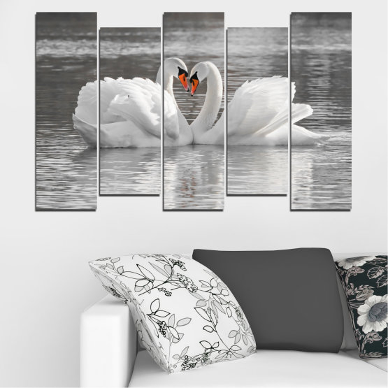 Canvas prints & wall decorative panels - 5 pieces №0029 » Gray, White, Dark grey » Water, Swan, Birds, Heart Form #3
