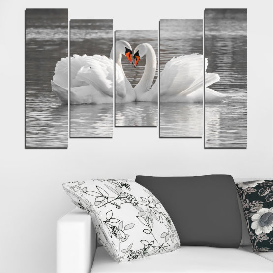 Canvas prints & wall decorative panels - 5 pieces №0029 » Gray, White, Dark grey » Water, Swan, Birds, Heart Form #4