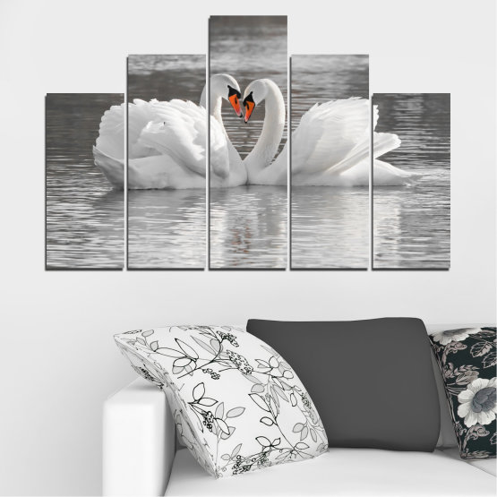 Canvas prints & wall decorative panels - 5 pieces №0029 » Gray, White, Dark grey » Water, Swan, Birds, Heart Form #5