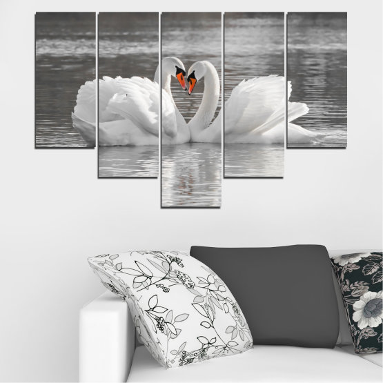 Canvas prints & wall decorative panels - 5 pieces №0029 » Gray, White, Dark grey » Water, Swan, Birds, Heart Form #6