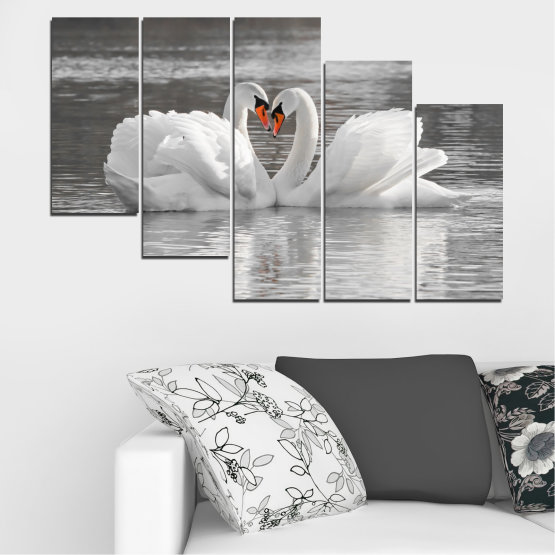 Canvas prints & wall decorative panels - 5 pieces №0029 » Gray, White, Dark grey » Water, Swan, Birds, Heart Form #7