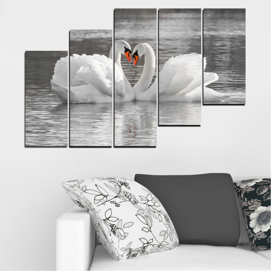 Canvas prints & wall decorative panels - 5 pieces №0029 » Gray, White, Dark grey » Water, Swan, Birds, Heart Form #8