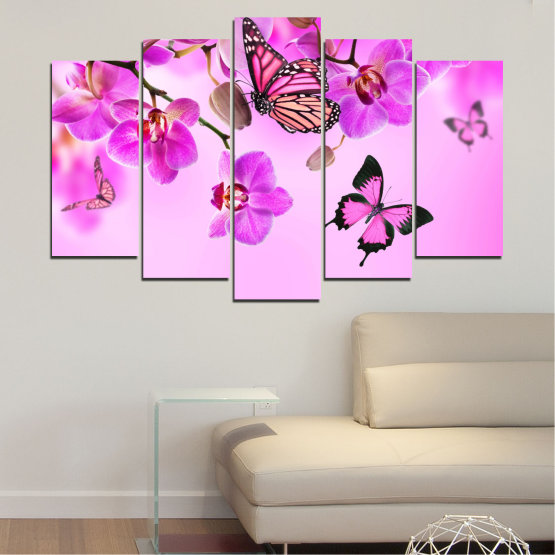 Canvas prints & wall decorative panels - 5 pieces №0290 » Pink, Purple, Black, White, Milky pink » Orchid, Flowers, Butterfly Form #1