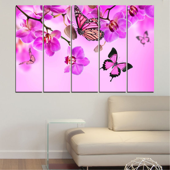 Canvas prints & wall decorative panels - 5 pieces №0290 » Pink, Purple, Black, White, Milky pink » Flowers, Orchid, Butterfly Form #2