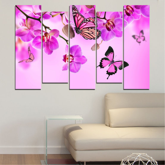 Canvas prints & wall decorative panels - 5 pieces №0290 » Pink, Purple, Black, White, Milky pink » Flowers, Orchid, Butterfly Form #3