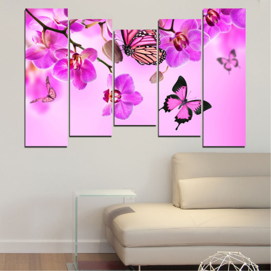 Canvas prints & wall decorative panels - 5 pieces №0290 » Pink, Purple, Black, White, Milky pink » Flowers, Orchid, Butterfly Form #4