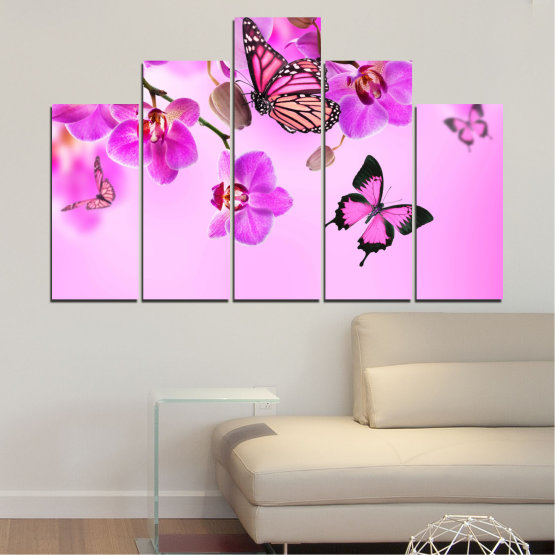 Canvas prints & wall decorative panels - 5 pieces №0290 » Pink, Purple, Black, White, Milky pink » Flowers, Orchid, Butterfly Form #5