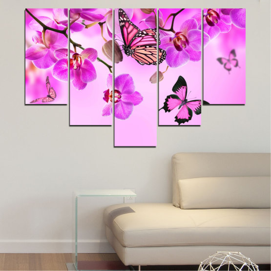 Canvas prints & wall decorative panels - 5 pieces №0290 » Pink, Purple, Black, White, Milky pink » Flowers, Orchid, Butterfly Form #6