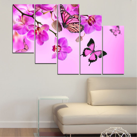 Canvas prints & wall decorative panels - 5 pieces №0290 » Pink, Purple, Black, White, Milky pink » Flowers, Orchid, Butterfly Form #7