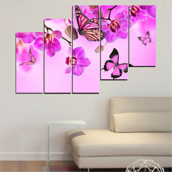 Canvas prints & wall decorative panels - 5 pieces №0290 » Pink, Purple, Black, White, Milky pink » Flowers, Orchid, Butterfly Form #8